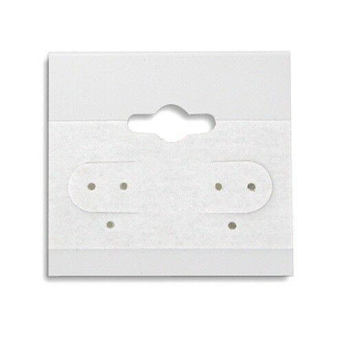 """2000 White Hanging Earring Display Cards 1 1/2""""H x 1 1/2""""W with Lip"""