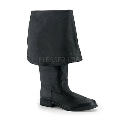 Black Leather Pirate Jack Sparrow Captain Tall Costume Boots Mens size 10 11 12