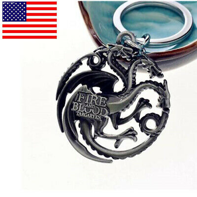 US! Game Of Thrones House Targaryen Keychain Dragon Silver Metal Keyring Jewelry