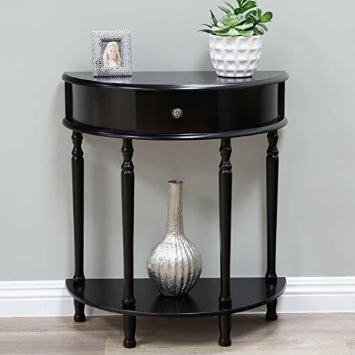 Elegant Half Moon End Table with Beautiful Espresso Finish & Storage Drawer