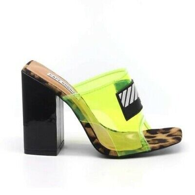 Cape Robbin CAMRYN Lime Tinted Leopard Transparent Clear Mule Chunky Block Heel