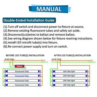 8ft Double Row Led Bulbs for Fluorescent Fixtures T8 8' Led Tube FA8 on