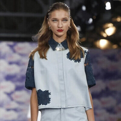 House Of Holland SS2014 Home Girls Collection Denim And Lace Blue Top Shirt 12 M