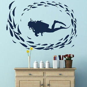 Scuba diving wall stickers diver art decor transfer sea for Diving and fishing mural