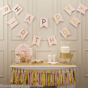 Pastel Pink Happy Birthday Bunting - gold letters 2.5 metre Ginger Ray UK Seller