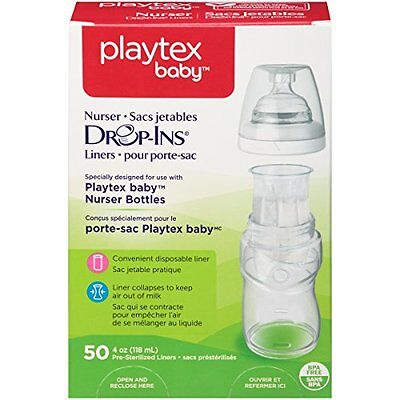 Playtex Drop in Liners for Nurser Bottles 4 oz 50 Count Each Disposable Feeding Drop In Liners