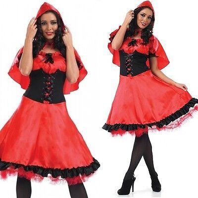 Damen Längere Länge Rotkäppchen Kostüm Kleid Outfit 8-26 - Übergröße Rotkäppchen Kostüm