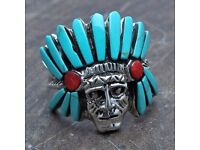 LOST - Reward - Light Turquoise Native Indian Chief Head Ring
