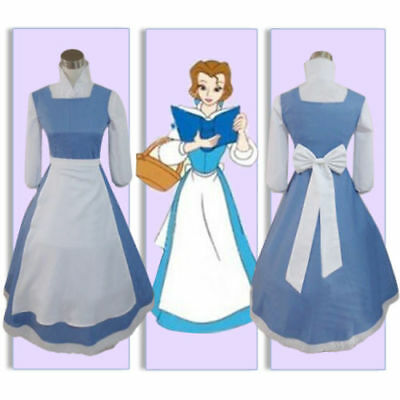 US! Adult Beauty and the Beast Belle Blue Maid Dress Cosplay Costume - Beauty And The Beast Blue Dress