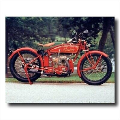 Old Red Vintage Indian Motorcycle Wall Picture Art Print