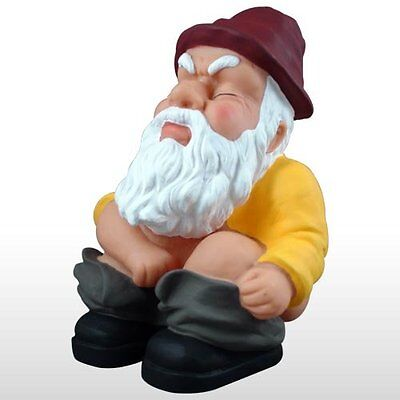 Squatting Garden Gnome Statue Funny Art Sculpture Outdoor Lawn Decor Patio Yard