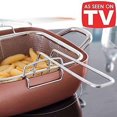 Wok 4 in 1 pentola rivestita in rame padella casserula con griglia per friggere