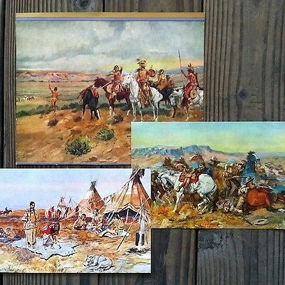 11 Diff Original CHARLES RUSSELL Cowboy Indian WESTERN ART Prints 1930s NOS