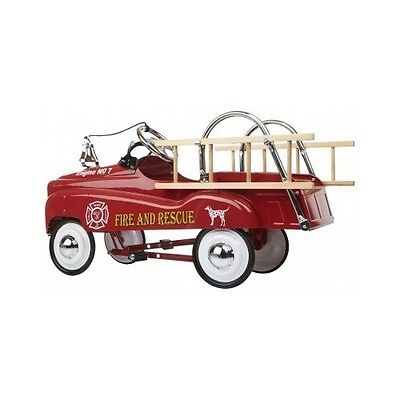 Kids Red Pedal Car Fireman Fire Truck Ladder Vintage Look Old Fashioned Toy New