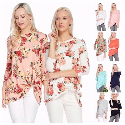 USA Women Casual Scoop Neck 3/4 Sleeve Knot Front Tunic Top Floral Knit Blouse  - Floral Scoop Neck Top