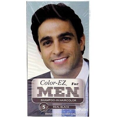 6 Color EZ For MEN 5 Minute Shampoo in Mens Hair Color REAL BLACK Sealed Kit LOT for sale  Shipping to India
