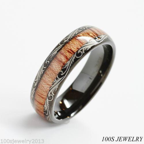 Wood Grain Engagement Ring
