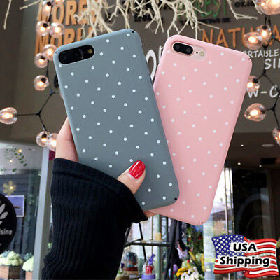 Ultra Slim Cute Polka Pattern Shockproof Hard Case Cover For iPhone 6 7 8 XS X ()