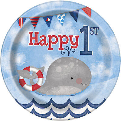 1st BIRTHDAY NAUTICAL SMALL PAPER PLATES (8) ~ First Party Supplies Cake Dessert (Nautical Paper Plates)