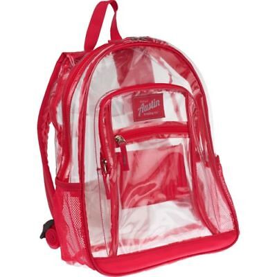 Austin Trading Co. Backpack NEW Clear / Dark Pink School Gym Travel Book Bag  (Austin Trading Company)
