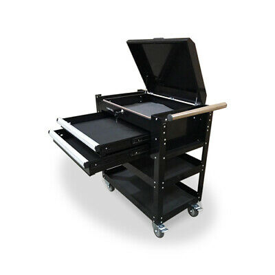 469 US PRO TOOLS TOOL CART MOBILE STEEL TROLLEY WORKSTAION BLACK HEAVY DUTY
