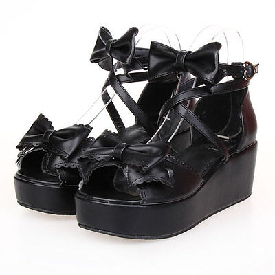 Gothic Goth Sweet Lolita Schuhe Shoes sandals Sandalen Pumps Cosplay Kostüm Neu