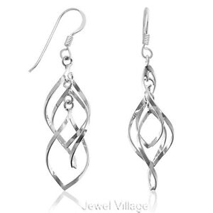 Tarnish-Free 925 Sterling Silver Triple Twisted Hoop Dangle Earrings