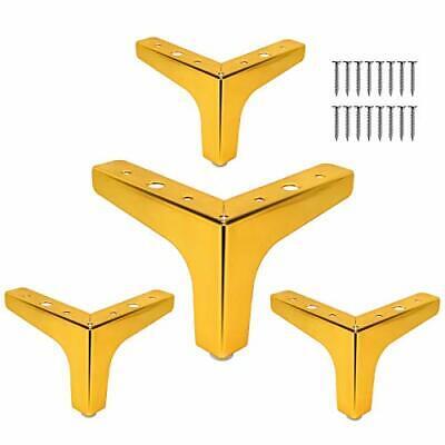 Metal Furniture Legs 4pcs 4-inch Heavy Duty Gold Triangle Furniture Feet DIY ...