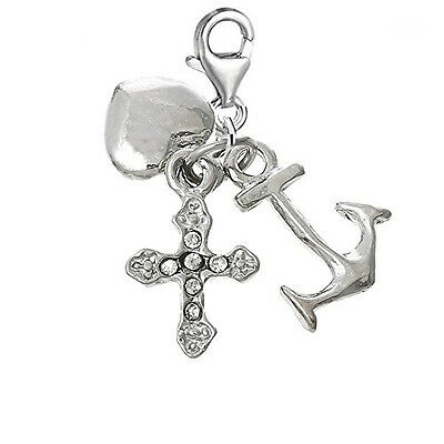 Anchor, Heart, Cross Clip on Charm Pendant for European Jewelry w/ Lobster Clasp