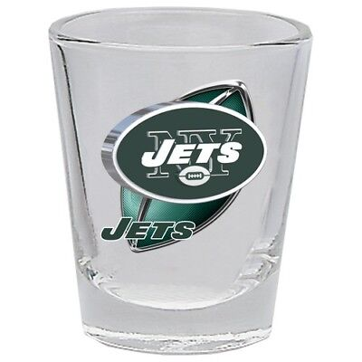 New York Jets 3D Clear Shot Glass 2 oz Round NFL Sports Football Fan Team Logo