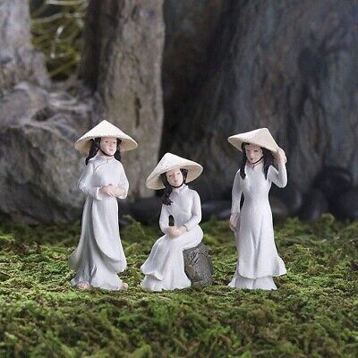 MINIATURE BONSAI GARDEN SET OF 3 AO DAI GIRLS, ZEN, TERRARIUM, ASIAN,