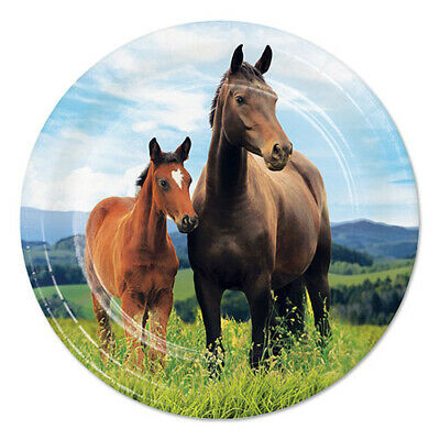 HORSE AND PONY SMALL PAPER PLATES (8) ~ Birthday Party Supplies Cake - Horse Paper Plates