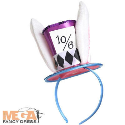 Mad Hatter Headband Fancy Dress Wonderland March Hare Ears Costume Accessory New (Mad Hatter Headband)
