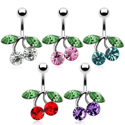 - Cherry CZ Gem Belly Ring Navel Naval Clear, Purple, Aqua, Red, Pink