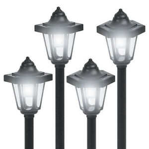 4-Pack Coach Style Post Lantern LED Solar Panel Lights