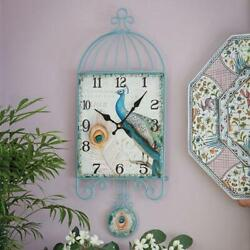 Unique Cage Style Peacock Pendulum Wall Clock Masonite Steel 24 H