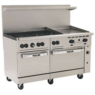 Vulcan Endurance Lp Gas Range - 60w 6 Burners 2 Ovens 24 Manual Griddle