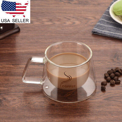 - US Double Wall Glass Cups For Cappuccino Coffee Tea Espresso Mugs S to L Gift