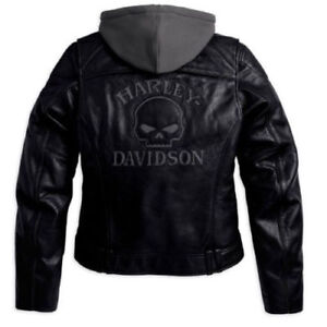 Men Harley Davidson Willie G Skull Leather Jacket Reflective.