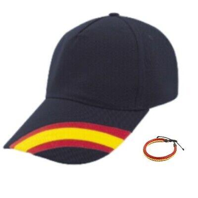 Gorra Azul Marino Bandera de España Regulable y pulsera padel golf tenis