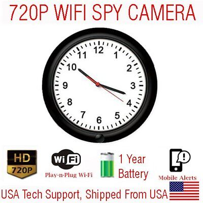 1 YEAR Battery Powered WIFI Wall Clock Wireless Spy Camera Nanny Cam  Spy Wireless Camera Battery