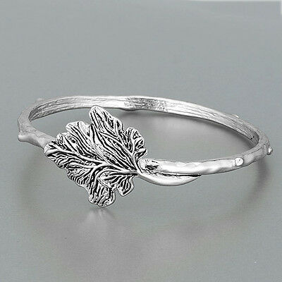 Silver Leaf Unique Design Bohemian Style Statement Bangle Bracelet