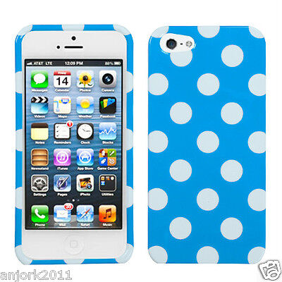 iPhone 5 Snap-On Hard Case Cover Accessory Blue White Polka Dots Dots Cover Case Snap