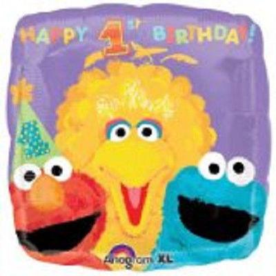 "Sesame Street Square Mylar 18"" Balloon Foil 1st Birthday Big Bird Elmo"