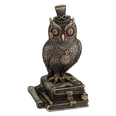 "8"" Steampunk Owl w/ Top Hat & Books Home Decor Statue Figure Sculpture"