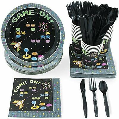 Juvale Disposable Dinnerware Set - Serves 24 - Arcade Themed Party Supplies for