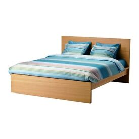 IKEA MALM OAK VENER DOUBLE BED FRAME for mattrass 140x200cm EXTRA LOAD GOOD CONDITION