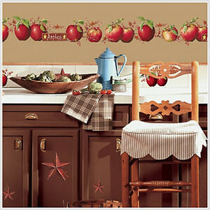 Country apples wall stickers 40 big decals stars berry for Apple kitchen decoration set
