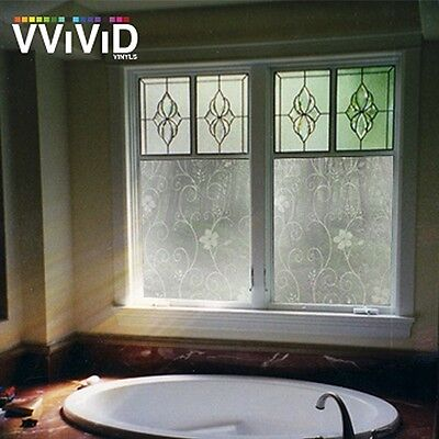 """36"""" x 10ft VViViD White Flower Frosted Privacy Window Film Home Glass Decor DIY"""