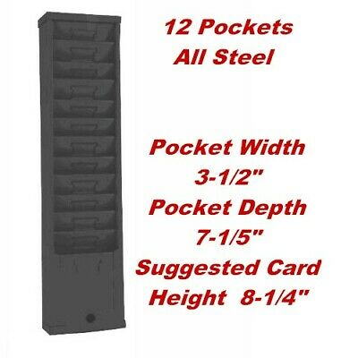 Time Card Rack 12 Pockets 3-12 W X 7-14 D For Cards 8-12 Or Taller